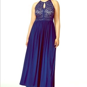 Nightway Size 18 Peacock Blue Lace Halter Gown